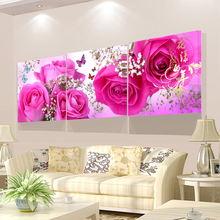 ФОТО 3 Piece Wall Art Painting Pink Flower Bud Picture Print On Canvas Flower The Picture Home Decor Oil Prints