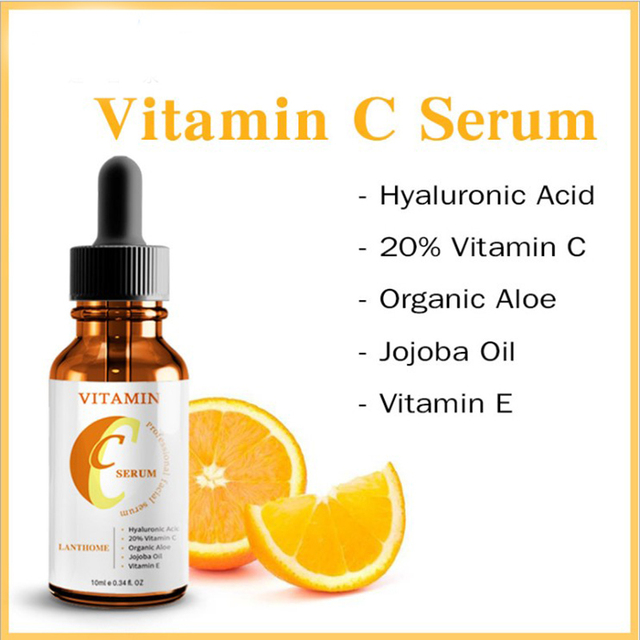 Facial vitamina C suero con ácido hialurónico Anti-arrugas envejecimiento hidratante blanqueamiento de la piel cuidado 10 ml/unid