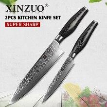 XINZUO 2 pcs kitchen knives sets Damascus steel kitchen knife sharp slice chef utility knife pakka wood handle free shipping