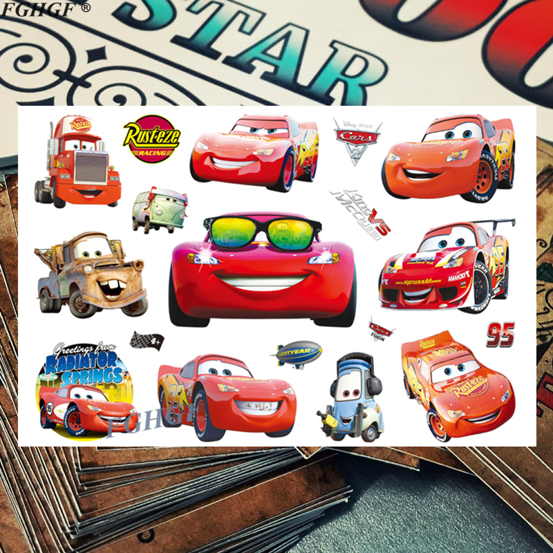 Cartoon cute Cars Child Temporary Body Art Flash Tattoo Sticker 17*10cm Waterproof painless tattoo Free shipping