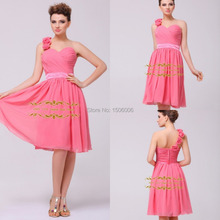 Graceful A-Line Chiffon Watermelon Short Bridesmaid Dresses One Shoulder Prom Dresses Mini Vestidos de fiesta WHL71