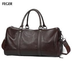 FEGER мужская сумка для путешествий из натуральной кожи, Большая вместительная спортивная сумка, сумки для спортзала, большая сумка для путеш...