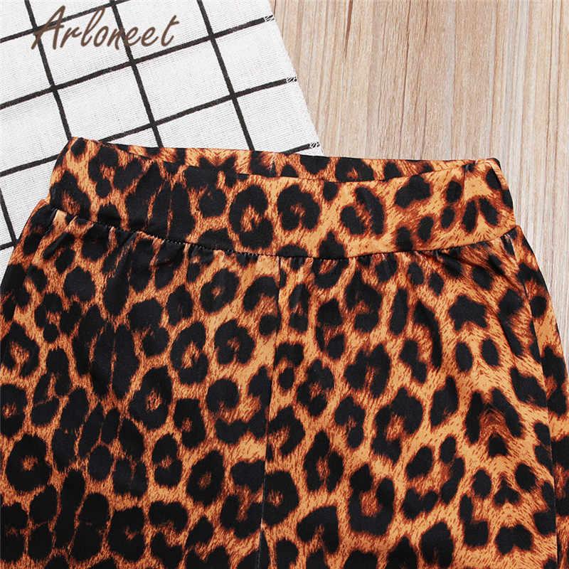 Одежда arloneet футболка с надписью для новорожденных девочек черные топы с леопардовым принтом и расклешенные штаны костюм из 2 предметов летняя одежда для девочек