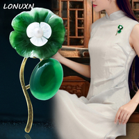 5.15*2.4cm Hot Selling Fashionable Flowers Natural semi precious stones green chalcedony Brooch Pin girlfriend Birthday Gift