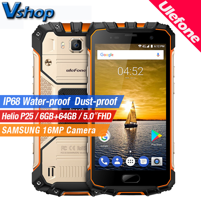 Ulefone Armor 2 4G Mobile Phones Android 7.0 6GB RAM 64GB ROM Octa Core IP68 Smartphone 16.0MP Camera 1080P 5.0 NFC Cell Phone