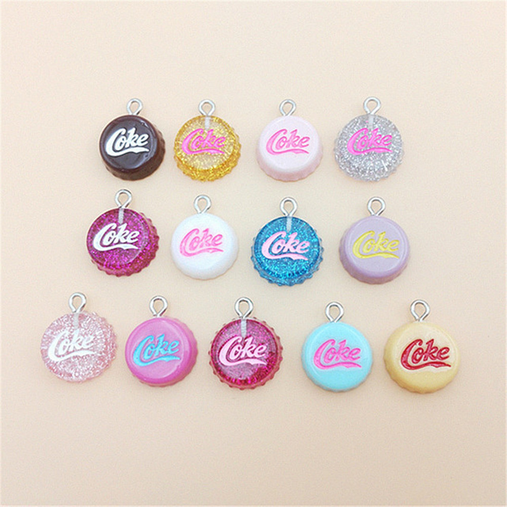 10Pcs/Lot Flat Back Resin Glitter Cap Earring Charms Resin Necklace Pendant Keychain Charms For Christmas DIY Decoration:16*20mm