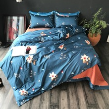 ФОТО egyptian cotton 60s bedding sets european luxury floral bed sheets 4pcs duvet cover bedlinens set super king queen size bed set