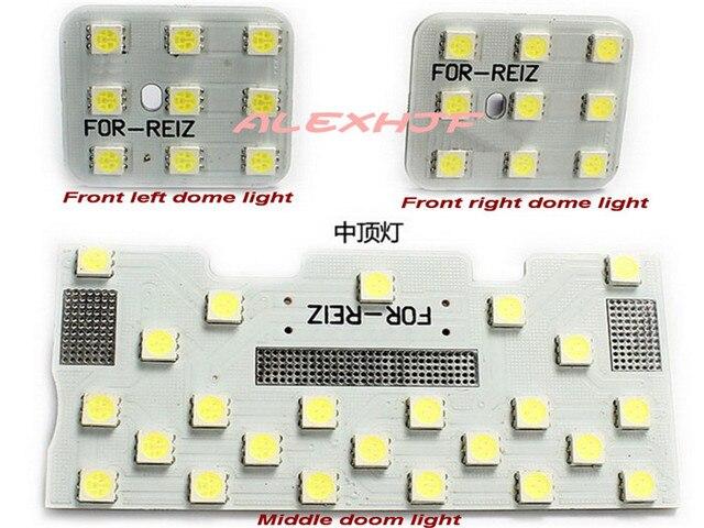 Julho Rei LED Luzes de Leitura Interior Do Carro, 5050 SMD Carro LED Luzes Decorativas para Toyota Reiz/Mark X 2005 ~ ON, 3 pçs/set