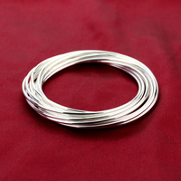 Fashion exaggerated sterling silver bracelet.Solid 925 silver women bracelet.13 smooth combination bracelets.Charm lady jewelry