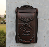 Embossed Trim Decor Bronze Cast Iron Mailbox High Quality Garden Decorative Mailbox Wall Mounted Mail Box