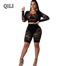 QILI Sexy See Through Lace Jumpsuit Rompers Women Long Sleeve 2 Piece Rompers Playsuits Nightclub Wear Top+Pants White Black sexy white see through fishnet playsuits