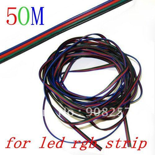 free shipping 50m for SMD 3528 5050 Strip RGB LED cord 4 pin Extension cable flexible wire