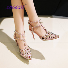 Pointed stiletto high heel sandals women 2019 new summer shoes woman fashion sexy studded strap comfortable Rome ladies shoes bigtree 2017 summer new woman fashion sandals sexy comfortable high heeled women shoes banquet ladies sandals heel high 9 5cm