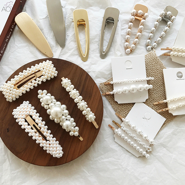 AOMU Mới Kim Loại Sang Trọng Vàng Ngọc Trai Hoa Tóc Clip đối với Phụ Nữ Cô Gái Kẹp Tóc Barrettes Hairgrip Tóc Cưới Phụ Kiện