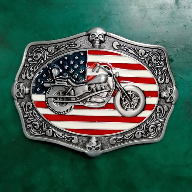 1 Pcs US Flag Motor Skull Luxury Cowboy Belt Buckle For Mens Jeans Western Belt Head