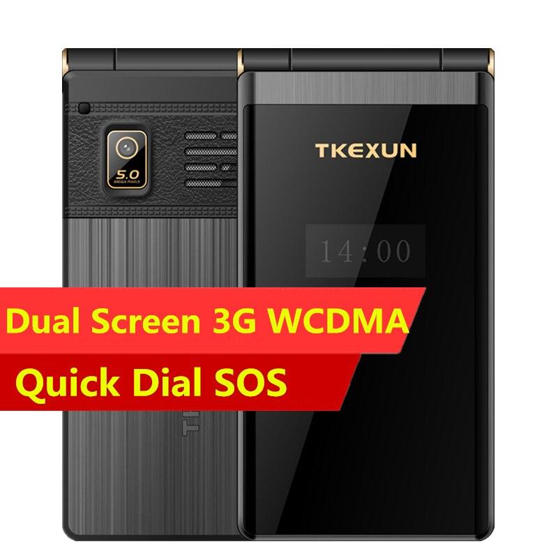 Cheapest 3G WCDMA Flip Mobile Phone TKEXUN M2 Plus 3 0Inch touch Screen Senior phone Luxury