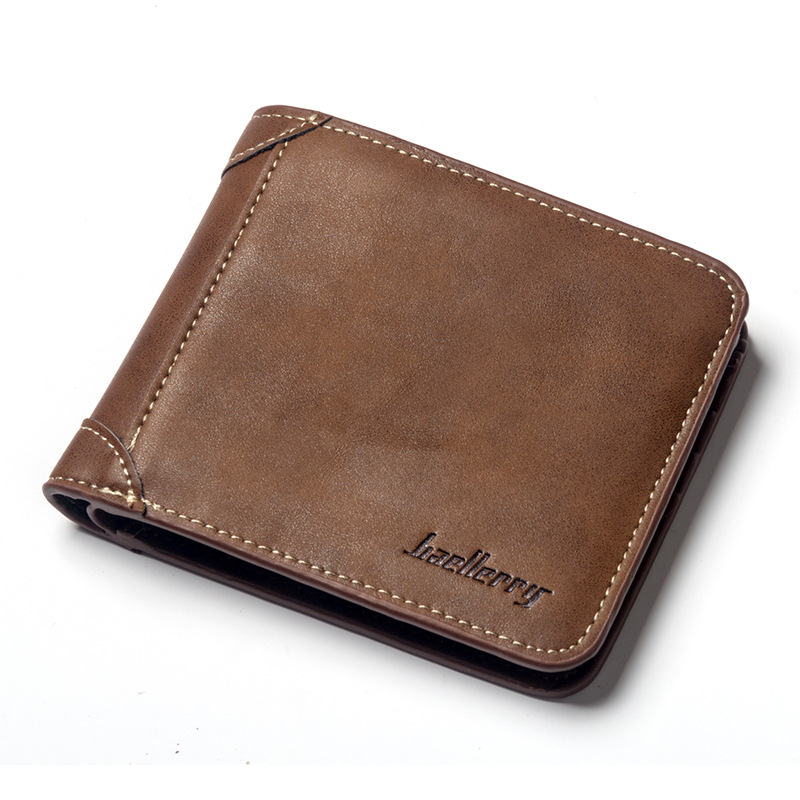 New Vintage Baellerry Men Short Wallet Coin Purses Luxury Male Soft PU Leather Billfold Money Pocket Credit Card Holder Carteira baellerry small mens wallets vintage dull polish short dollar price male cards purse mini leather men wallet carteira masculina