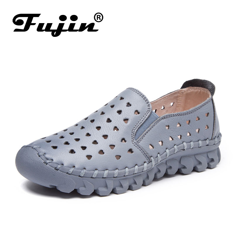 Fujin brand 2018 new breathable soft women flats genuine leather lady loafers slip on women shoes summer autumn fall moccassin new hot sale women shoes breathable buckle slip on for women comfortable dress shoes genuine leather white colour free shipping