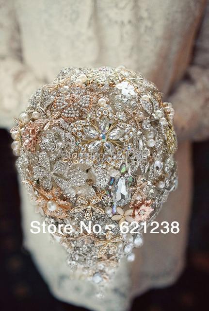 Тяжелым производства шампанского свадебные брошь букет/СДЕЛАЙ САМ капельки стиль невесты с цветами в руках/свадебные букеты