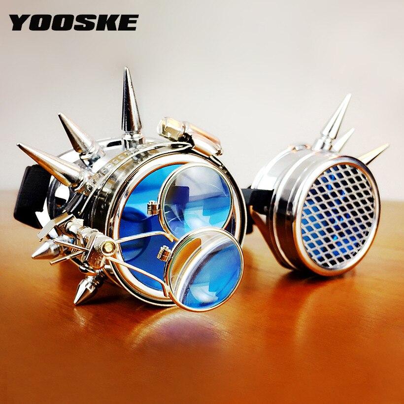 YOOSKE rétro Steampunk lunettes de soleil hommes femmes lunettes vapeur Punk lunettes de soleil pour Halloween Cosplay fête lunettes Vintage lunettes