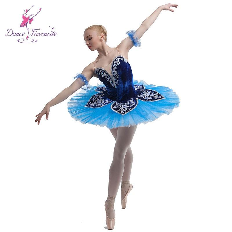 New arrival blue velvet top bodice ballet costume tutu professional dance tutu women stage performance pancake ballerina tutu