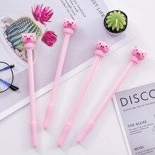 40 pçs pink little pig bonito dos desenhos animados caneta neutra preto 0.5mm caneta tinteiro estudante papelaria kawaii canetas atacado natal
