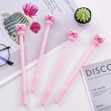 40 pcs 핑크 작은 돼지 귀여운 만화 중립 펜 블랙 0.5mm 만년필 학생 문구 kawaii 펜 도매 크리스마스