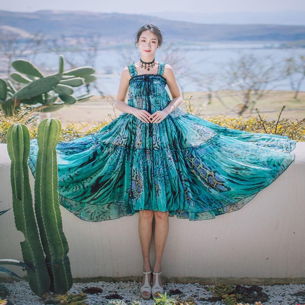 Mousseline Floral Maxi Longue Jupe Skirt Tulle Bohême De deux Ensemble Jupe Pièces Soie Plage Sets two Femme Boho Gypsy Femmes 2018 Plissee Plissée Summer PqXSvyE