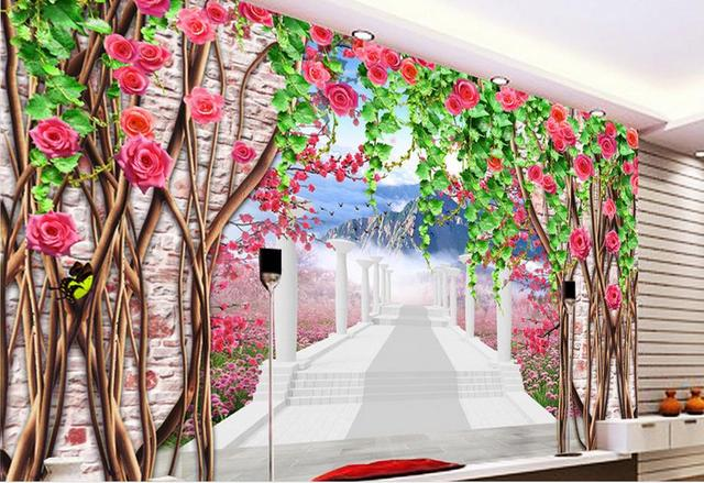 US $18.86 49% OFF|Anpassen 3d wandbilder pfirsichblüte blume 3d tapeten für  wand 3d wallpaper für bad 3d stereoskopische video in Anpassen 3d ...