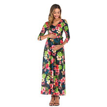 Maxi Dresses Autumn Winter Women Long Dress Boho Floral Print Seven Quarter Women's Maternity Cross Deep V Neck MM613