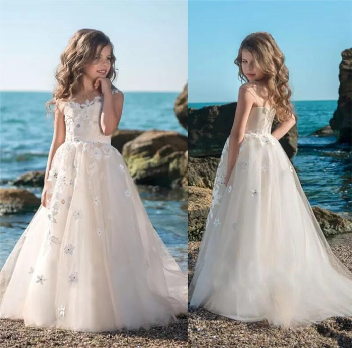 Princess New Flower Girl Dresses for Wedding Kids Pageant Gowns A Line Appliqued Beads First Communion Dress Customized Gown 2016 sky blue flower girl dresses for wedding communion dresses for girls pageant dresses kids 2016 ball gowns