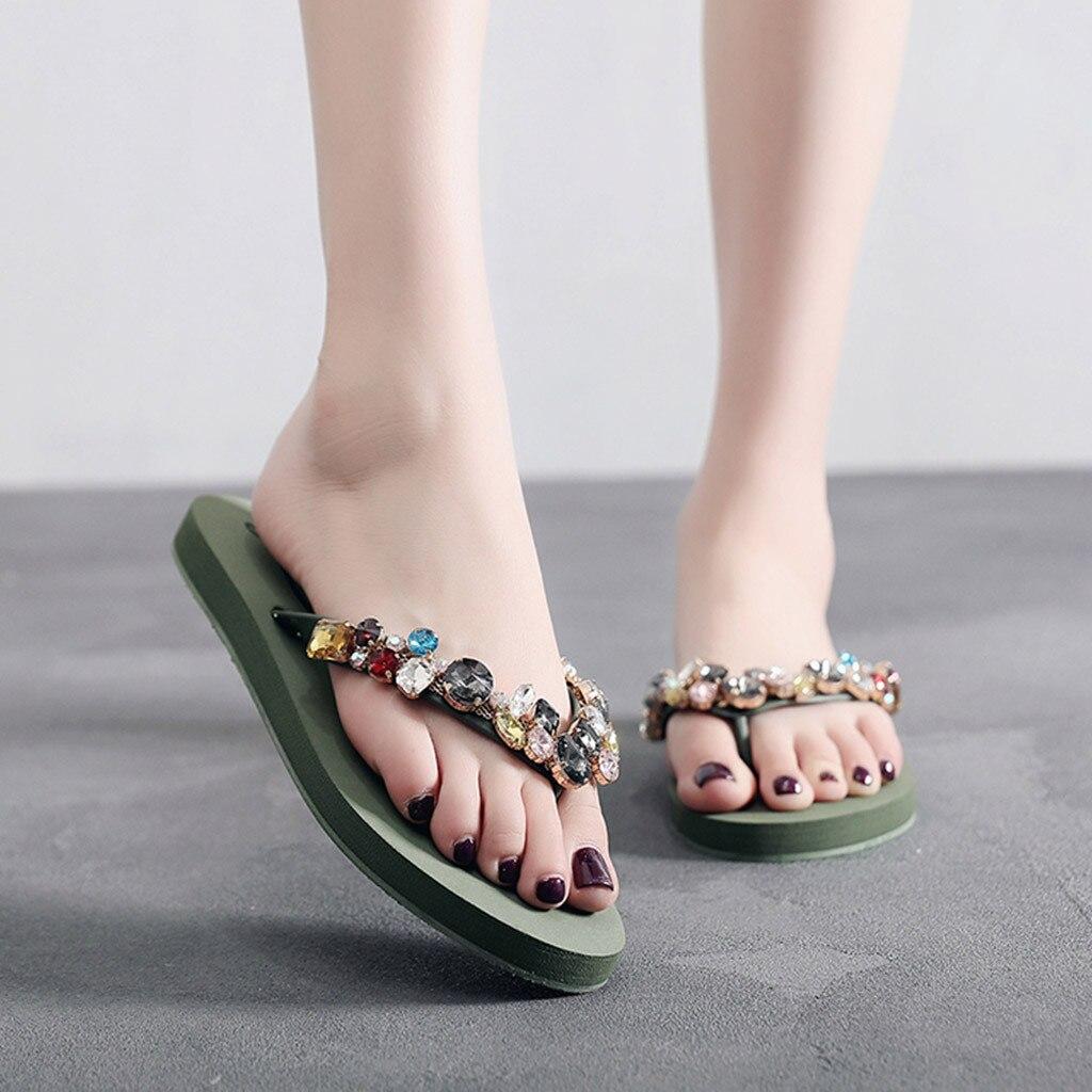 Sommer Schuhe Frau Neue Hausschuhe Frauen Damen Mode Kristall Böhmischen Stil Hausschuhe Strand Sandalen Schuhe Zapatos De Mujer 2019
