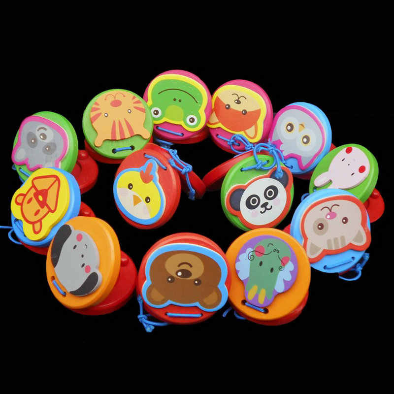 Kids Wooden toy multicolour cartoon wood Castanet sound toys Music educational Baby Music Mobiles Rattles toys for children