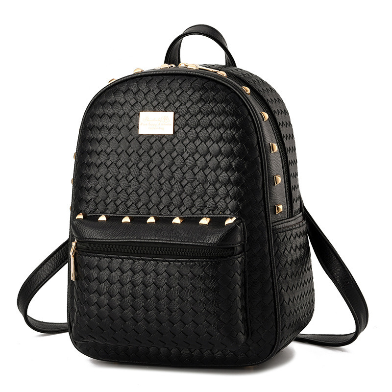 Black Plaited PU Schoolbag Women Backpacks Casual Traveling Bag Rivets Adjustable StrapsBlack Plaited PU Schoolbag Women Backpacks Casual Traveling Bag Rivets Adjustable Straps