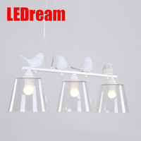 LEDream Lovely Northern American Contemporary And Contract Dining Room Kitchen Home Fixture Resin Bird Glass Lampshade