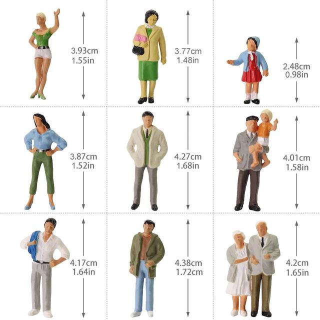 20pcs All Standing O Scale 1:43 Painted Figures Passengers Delicate People Miniature Train Layout P4306 3