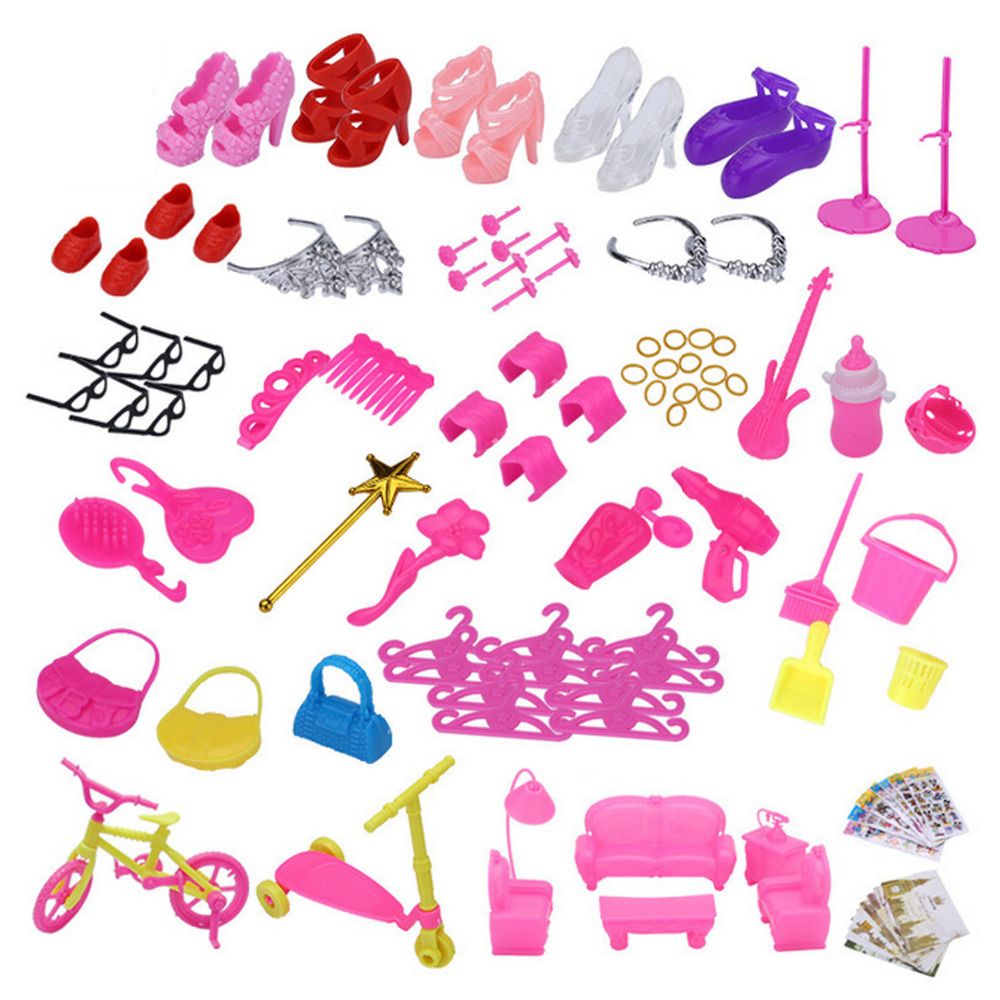 Satkago 128 PCS Complete Doll Accessories Kit High Heels Hair Accessories Cleaning Tools Sofa for Barbie Toys House