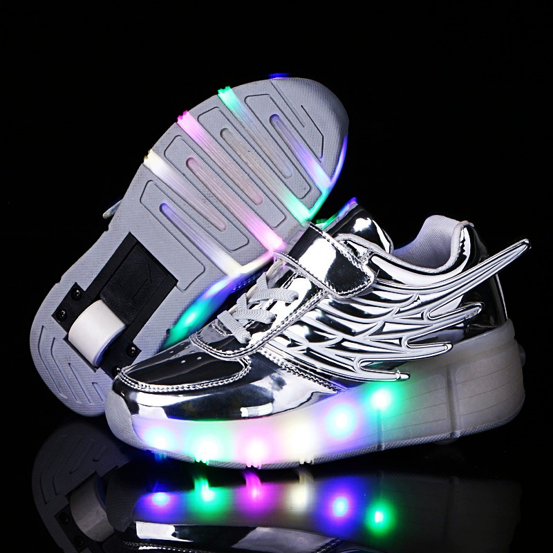 Glowing Luminous Sneakers For Children On Small Wheels Baskets With Light Sole Children Led Slippers For Boy&Girl Light Up Shoes