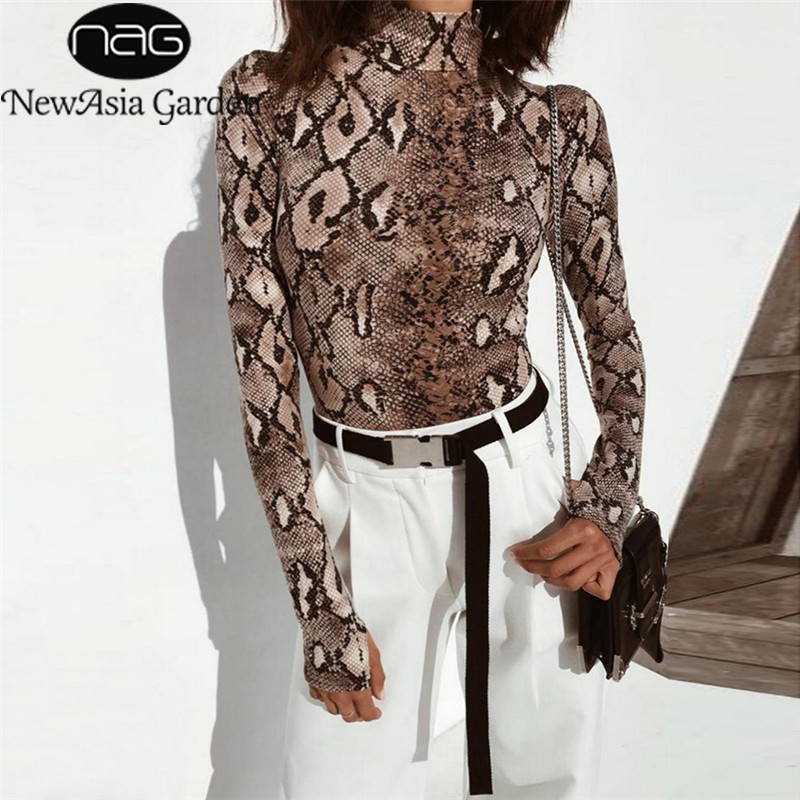 NewAsia Sexy Snake Print Bodysuit Women Long Sleeve   Jumpsuits   For Women 2018 Winter Stand Collar Body Mujer Rompers Overalls