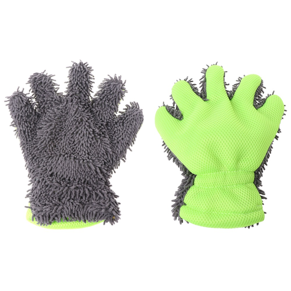 Five Finger Glove Chenille Microfiber Car Care Detail Cleaning Window Washer A11
