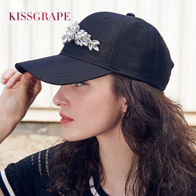 Лето 2017 г. женские бейсболки Черные Шляпы молодых девушек Кость Snapback шапки с 3D С кристалалми и стразами цветы дамы элегантные шапки