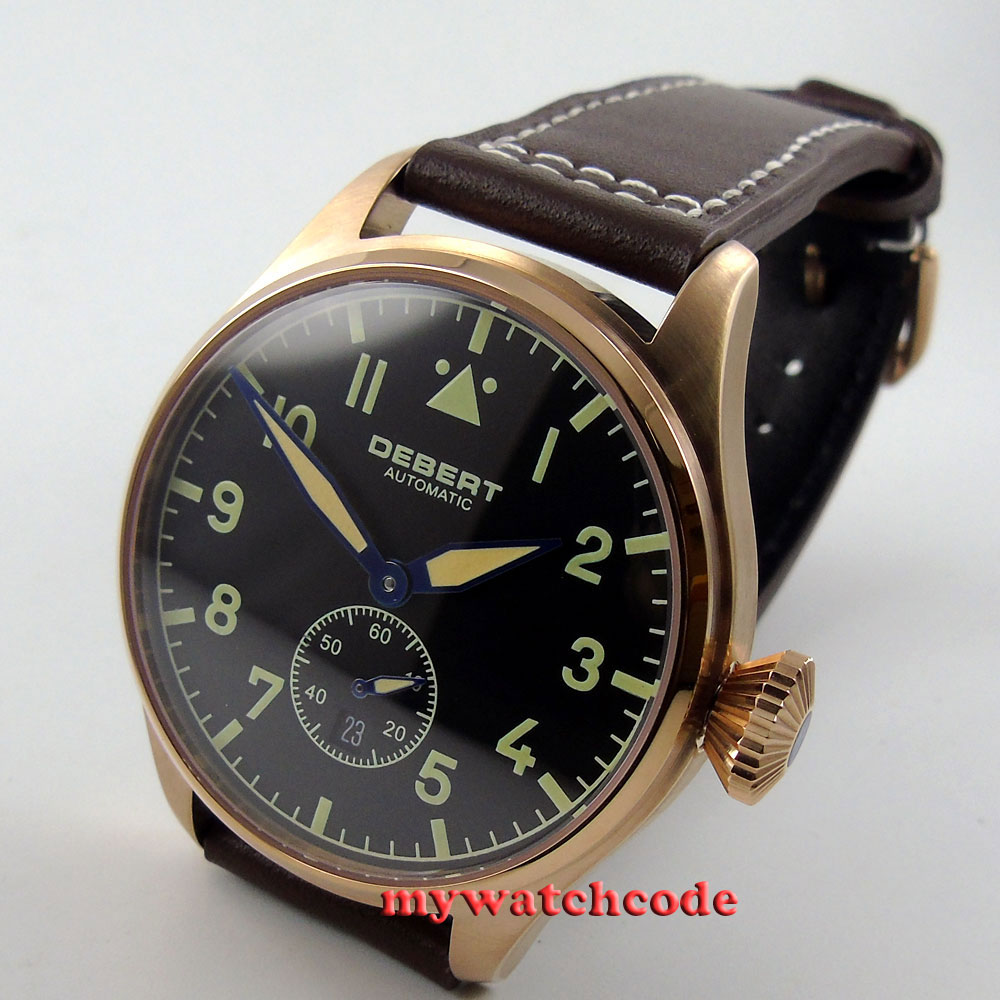 Debert black dial rose gold date sapphire glass Automatic mens wrist Watch D19