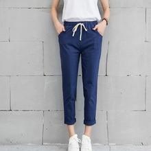 2018 Chic Leisure Cotton Linen Long Pants Women Elastic Waist Pockets Loose Pants Plus Size 2XL Casual Trousers Leisure Pants