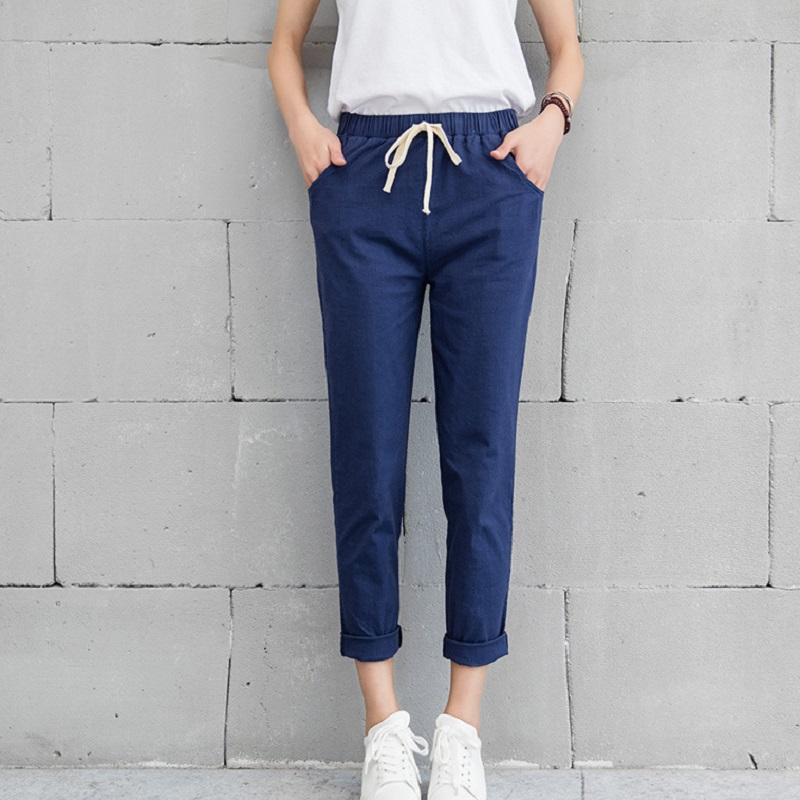 Hot Chic Leisure Cotton Linen Long Pants Women Elastic Waist Pockets Loose Pants Plus Size 2XL Casual Trousers Leisure Pants