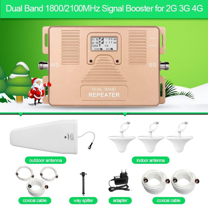 ATNJ double bande répéteur 1800/2100 mhz 2G 3G 4G téléphone signal booster avec écran LCD comprennent 3 antenne intérieure