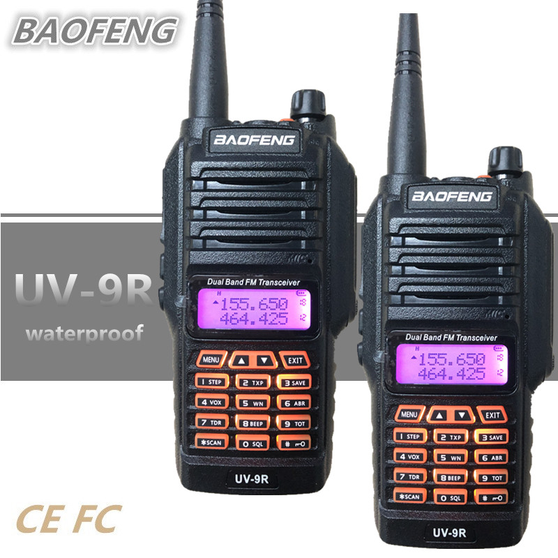 2PCS Baofeng UV 9R Walkie Talkie 8W Waterproof IP67 10KM CB Radio UHF VHF Mobile HF Transceiver Ham Comunicador Talky Walky UV9R