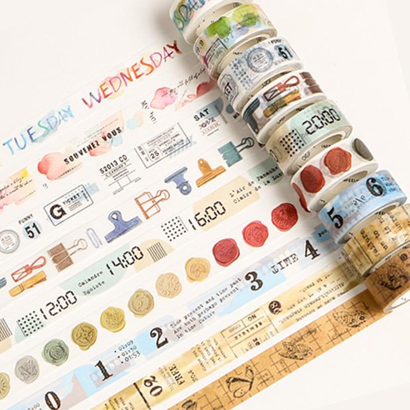 2018 New Vintage Newspaper Washi Tape DIY Decoration Scrapbooking Planner Masking Tape Adhesive Tape Kawaii