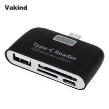 Black Type-C 3 in 1 Multifunction Memory Card Reader Adapter USB TF SD for Macboo