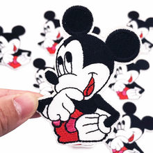 1Pcs Thinking Mickey Iron On Patch Sewing On Embroidered Applique Fabric for Jacket Badge DIY Custom Clothes Apparel Stickers(China)