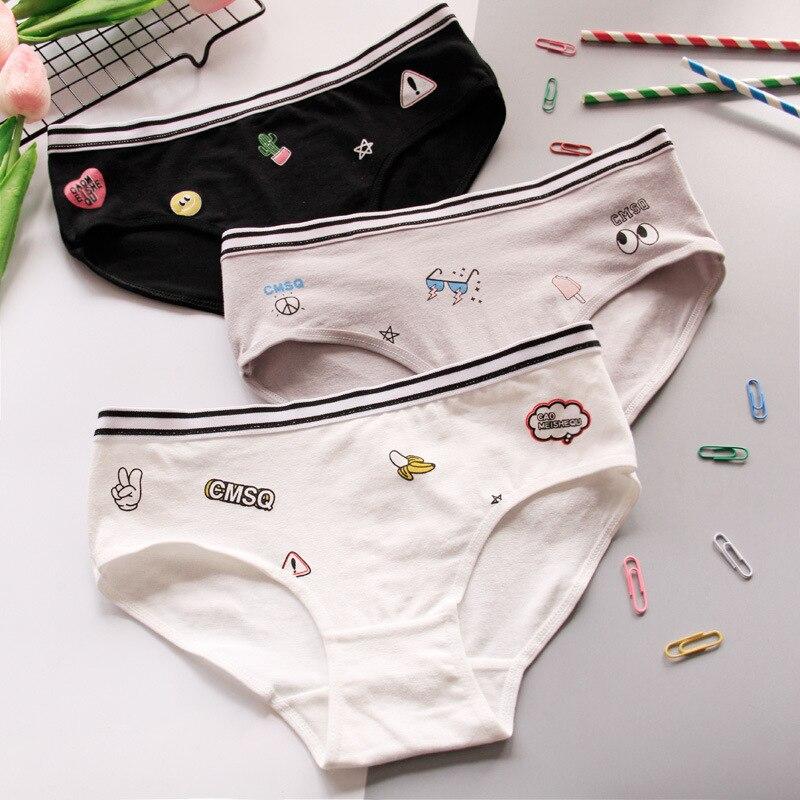 Panties   female cotton waist women's cotton triangle bottom pants full cotton pants fruit print cartoon letters lovely girl